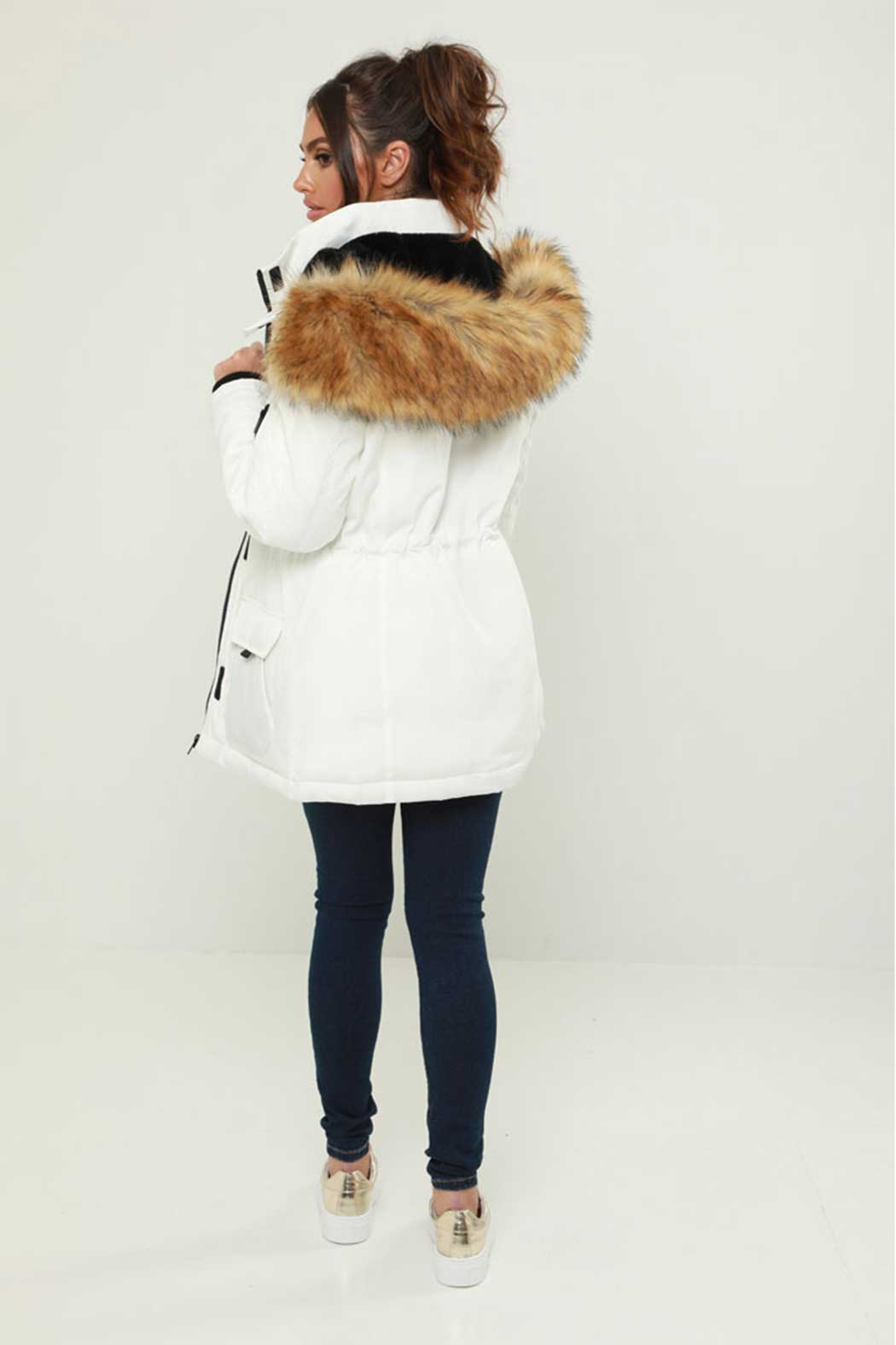 White Long Line Ski Jacket