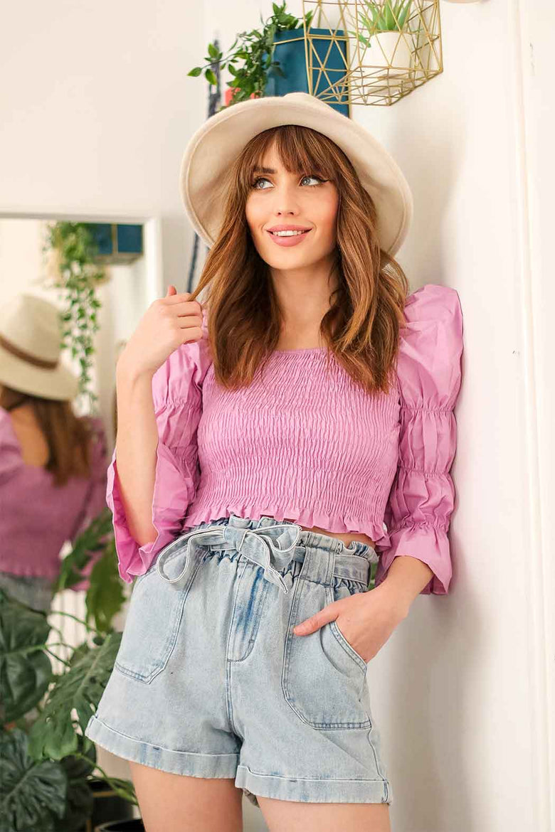 Zee Lilac Sheered and Gathered Poplin Top