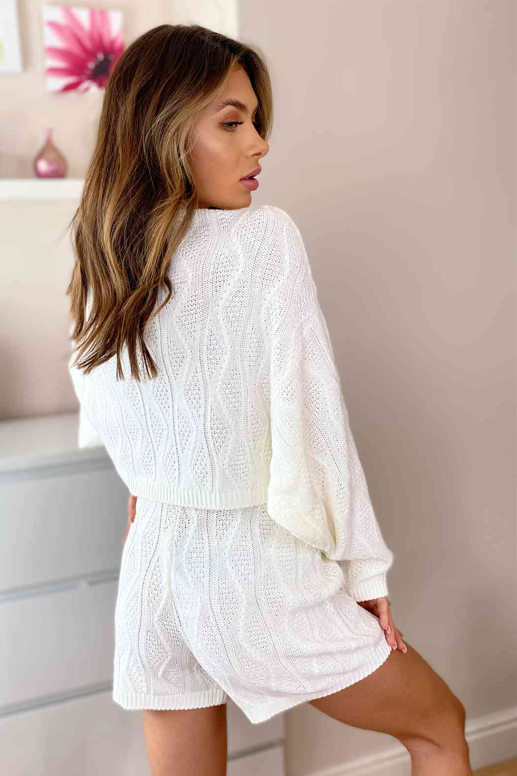 Cream Cable Batwing Knitted Jumper and Short Lounge Set