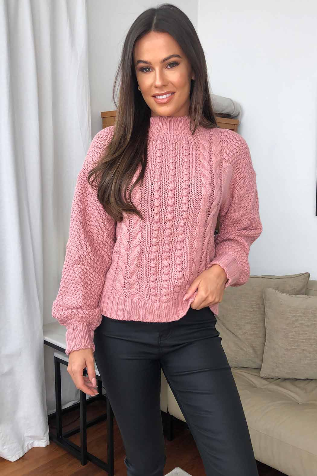 Dolly Pink Bobble And Cable Stitch Jumper