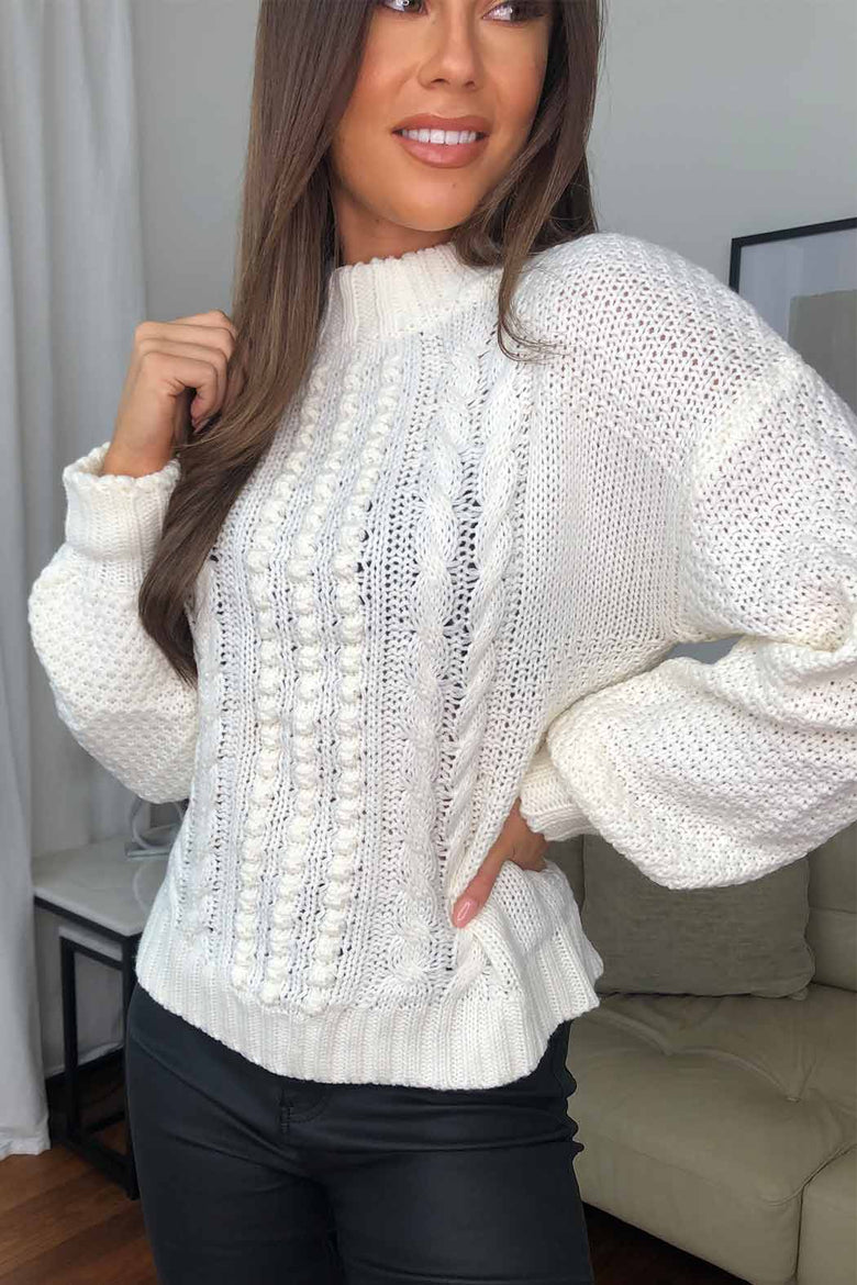 Dolly White Bobble And Cable Stitch Jumper