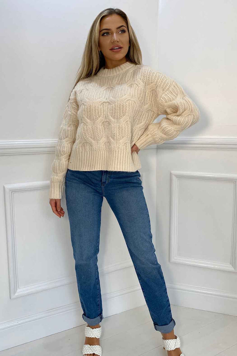 Cosy Balloon Sleeve Cream Cable Jumper