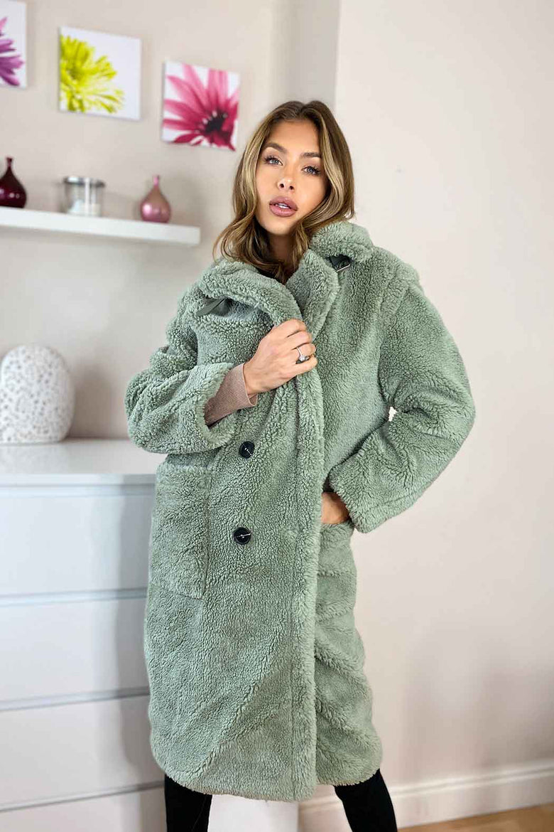 Fulham Green Long Line Teddy Borg Jacket