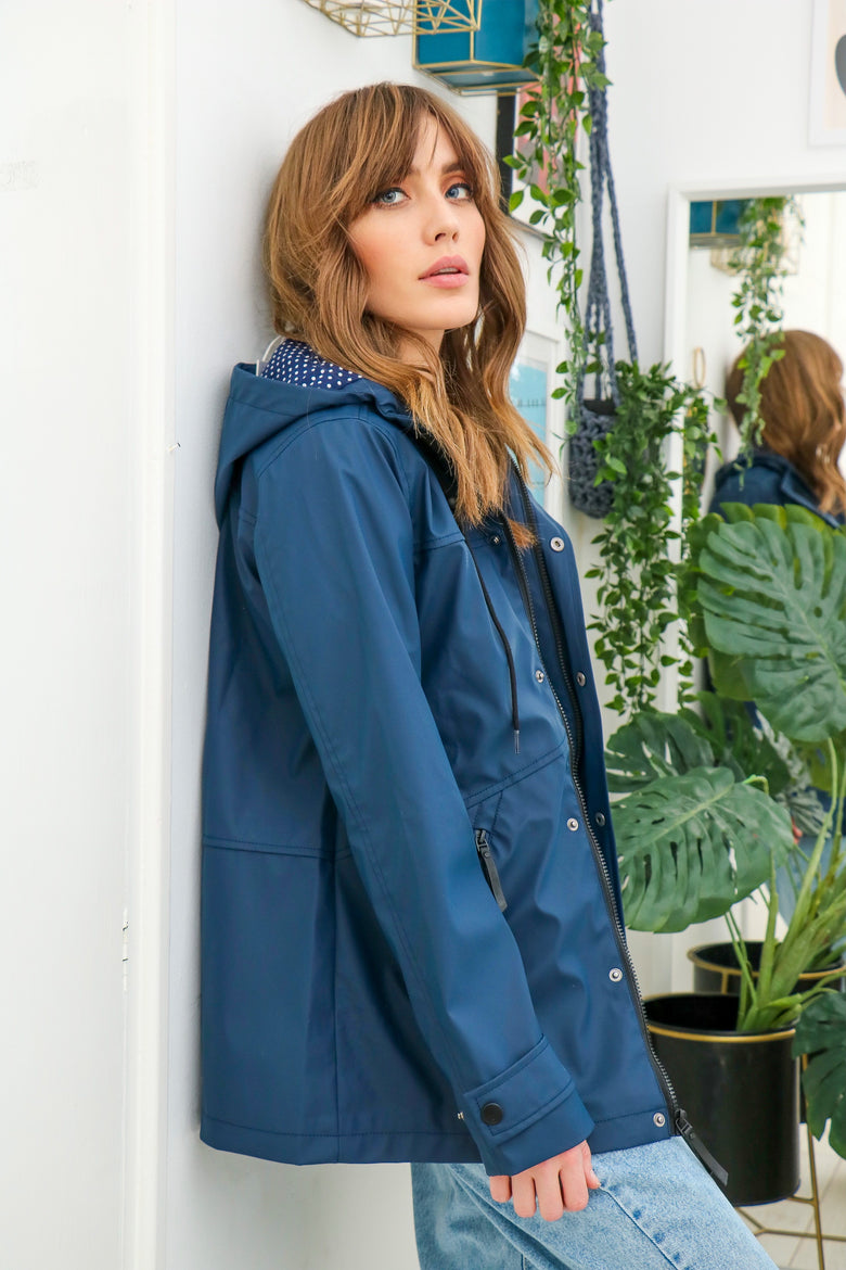 Lucie Navy Rain Mac