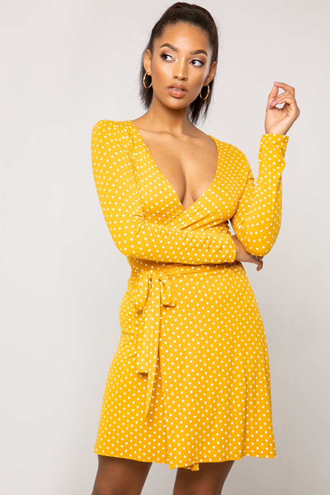 Viv Mustard Long Sleeve Spot Mini Wrap Dress