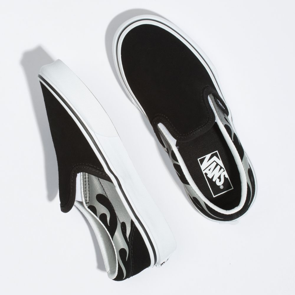 Zapatillas Vans Kids Suede Flame Classic Slip-On Black/True White - Vans
