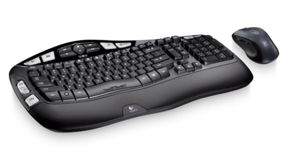 Logitech MK550 Wireless Wave Keyboard Mouse Combo Black Wave-shaped key frame Cushioned, Hand-friendly, Strong batteries