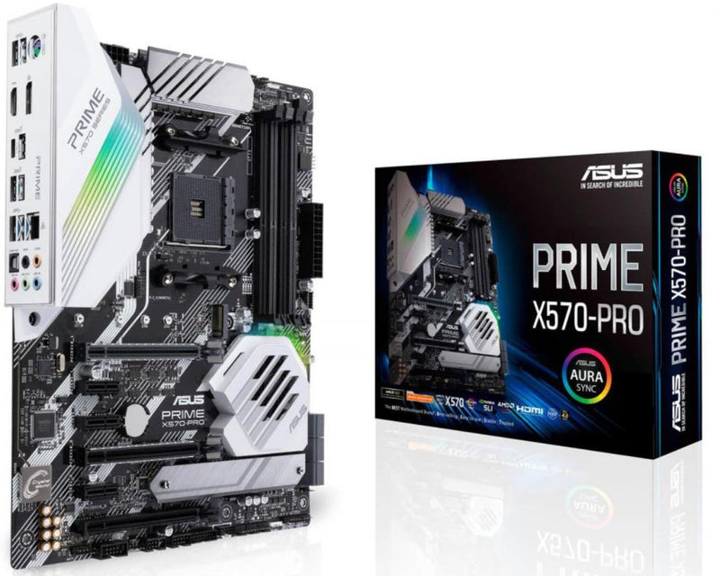 ASUS PRIME X570-PRO/CSM AMD AM4 ATX MB, PCIe 4.0, 14 DrMOS Power Stages, DDR4 4400MHz, Dual M.2, HDMI, SATA 6Gb/s, USB 3.2 Gen 2 Front-panel