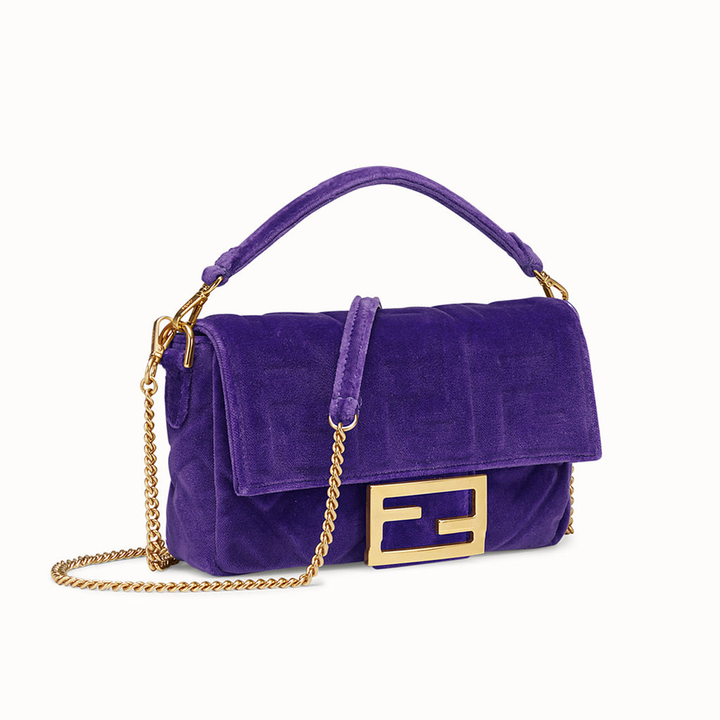 Fendi Mini Baguette Purple Velvet Bag