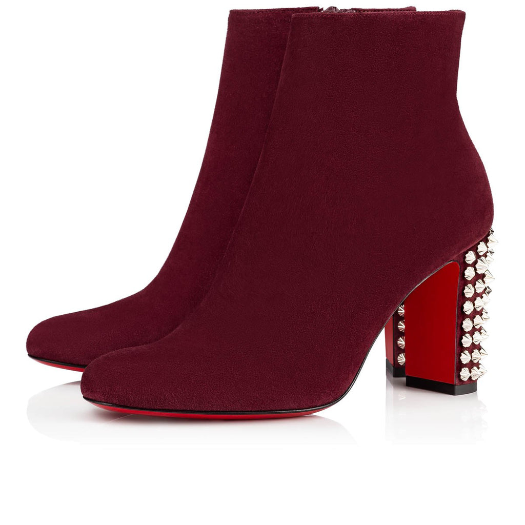 Christian Louboutin Suzi Folk 85 Prunus Spiked Leather Ankle Boots