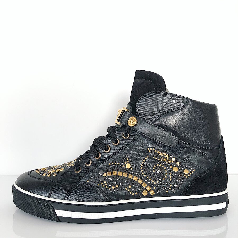 Versace Mens Black Embellished Gold Stud High Top Sneaker