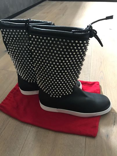 Christian Louboutin Naza Shearl Spikes Silver Boots