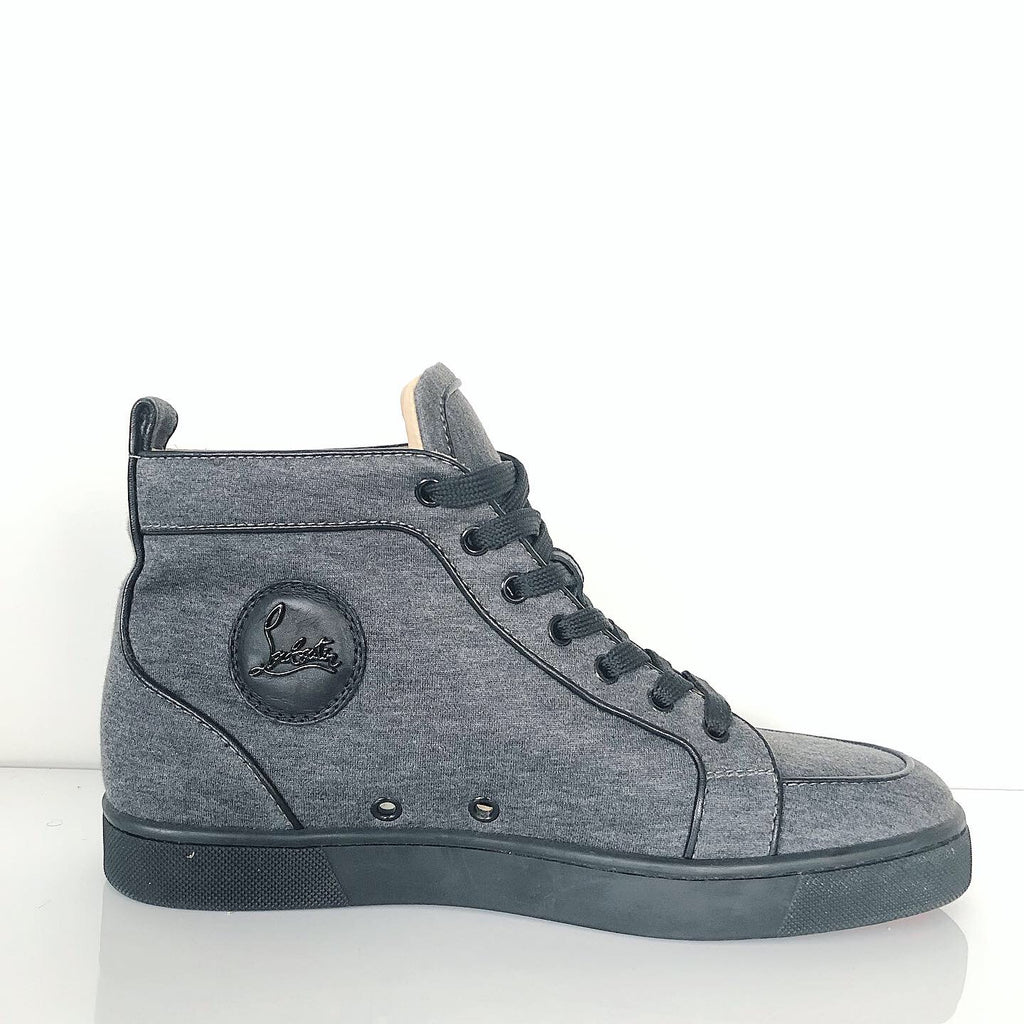 Christian Louboutin Men's Grey Lou Denim High-Top Trainers