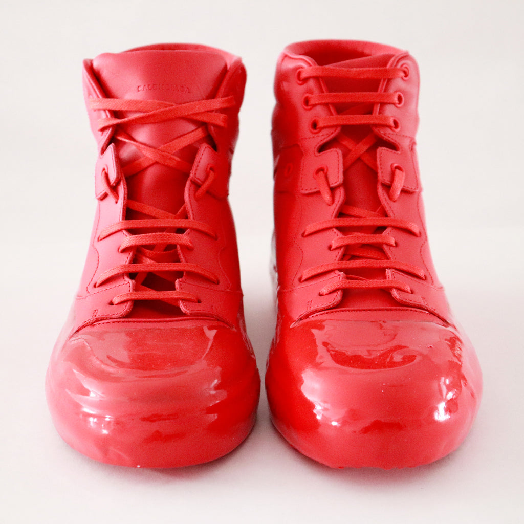 Balenciaga Red Leather High-Top Waxed Gum Sneaker