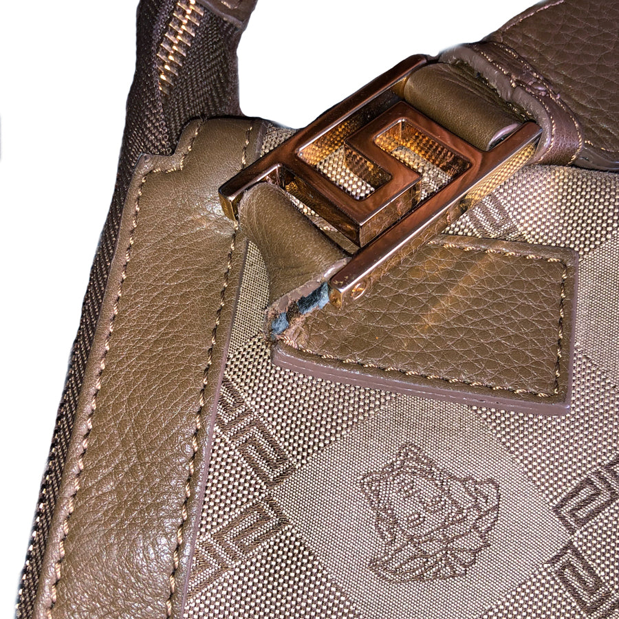 Versace Two Tone Emblem Shoulder bag