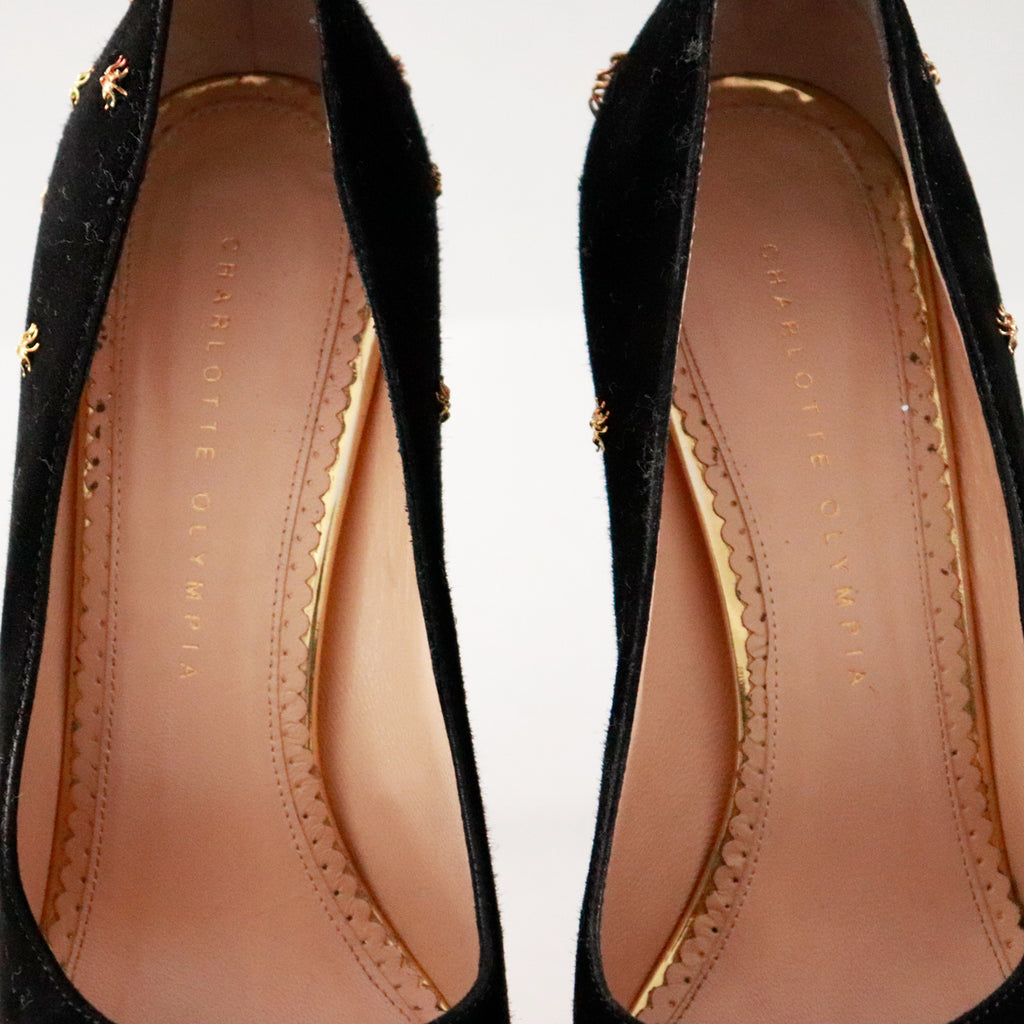 Charlotte Olympia Dolly Spider-Studded Suede Platform Pumps in Black – Gold