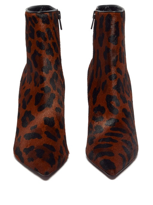 Christian Louboutin  So Kate 85 leopard-print calf-hair leather boots