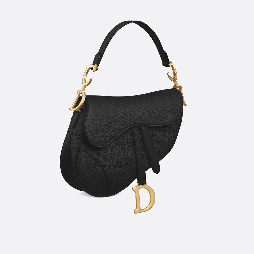 Dior Black Embossed Grained Saddle Calfskin Bag
