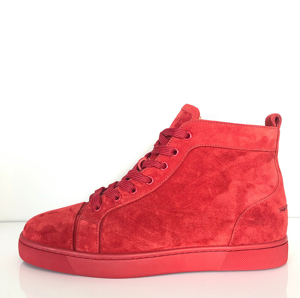 Christian Louboutin Louis Red Suede High-Top Sneaker