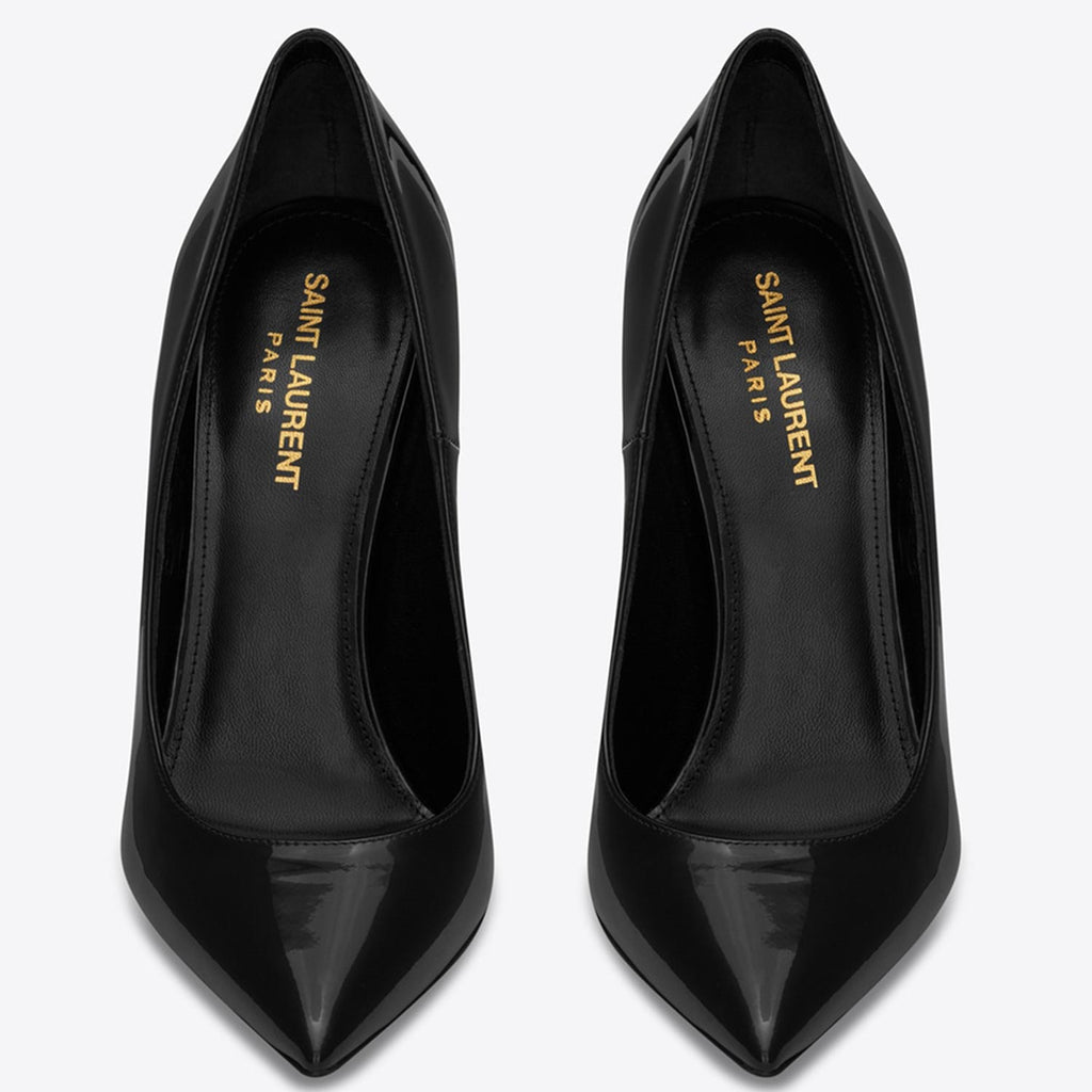 Saint Laurent Opyum Pumps With Gold Toned Heel In Patent Leather