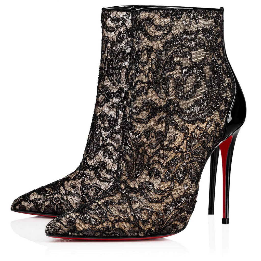 Christian Louboutin 100 Version Black Dentelle Gloss Psybootie
