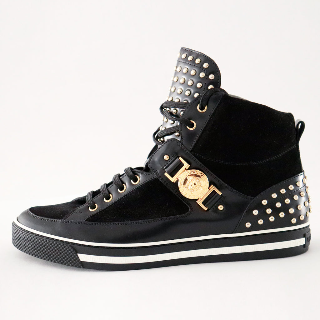 Versace Studded Suede High-Top Medusa Sneaker