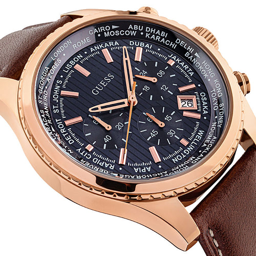 Guess Pursuit Chronograph Herrenuhr W0500G1 Geschenkbox Garantie Rotgold Zifferblatt blau braunes Lederband