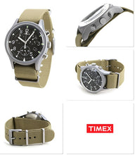 Laden Sie das Bild in den Galerie-Viewer, Timex Military MK1 Supernova Chronograph Aluminium Herrenuhr Textilband braun mit Stoppuhr mit Beleuchtung TW2T10700 NEU OVP. BOX PAPIERE