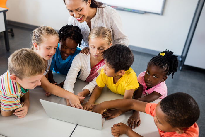 group learning on school desk