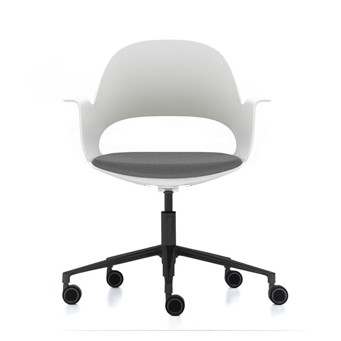 alava chair white with grey seat on black castors