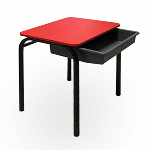 red Aztec classroom desk with tote storage tray