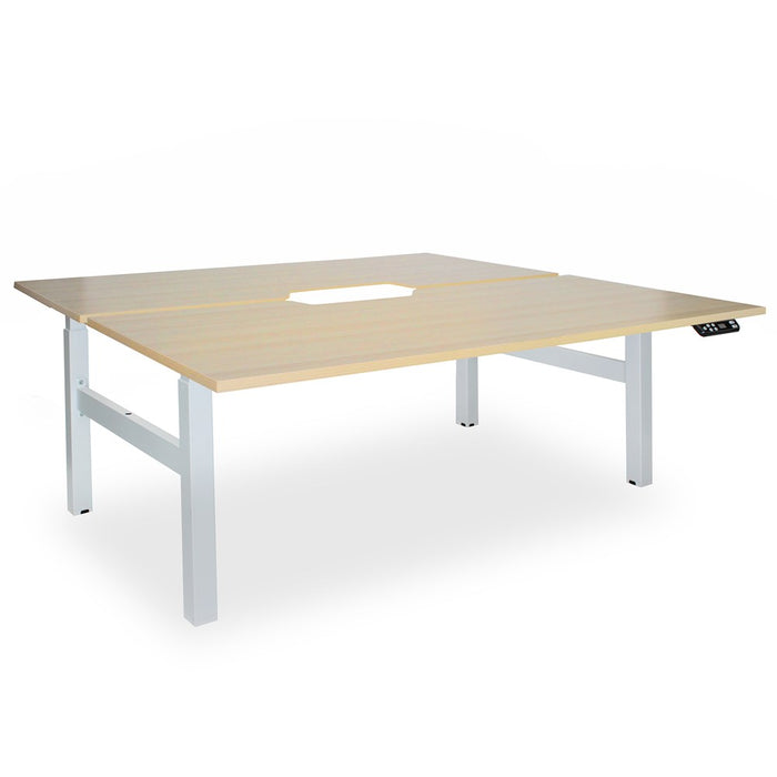 Elevate White 1800 Electric Shared Desk (650 - 1250mm)