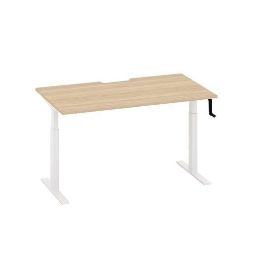 Enhance Manual Height Adjustable Desk – White / Oak