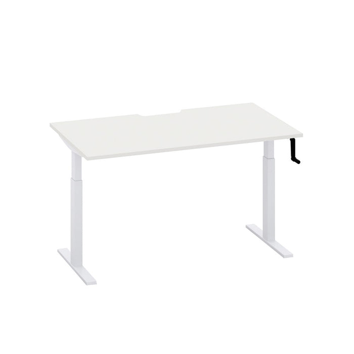 Mobel Enhance Manual Height Adjustable Desk – White / White