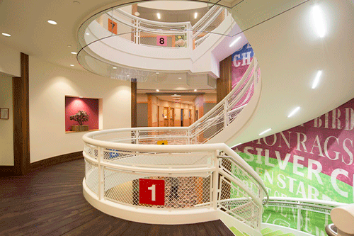 Commercial Metal Staircase with woven wire inserts