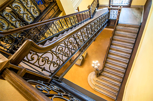 Historic brass-plated, cast iron staircase restoration at Indiana State University