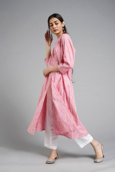 Stripe Me Up Kurta Pink