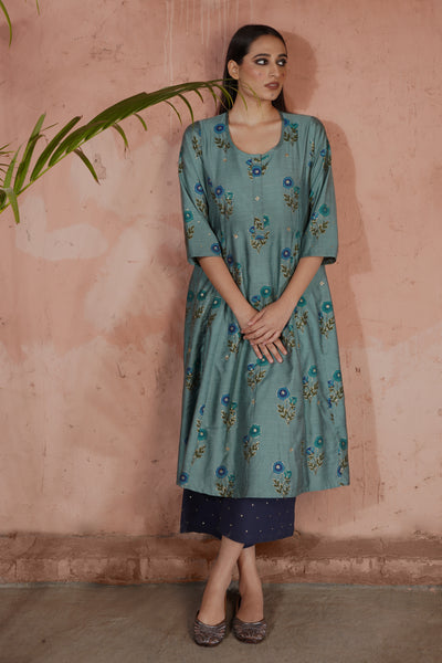 Tropical Kurta Teal