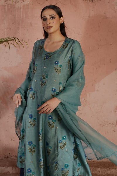 Tropical Dupatta Teal