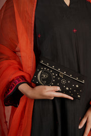 Embroidered Pouch Black