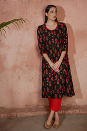 Tropical Kurta Black