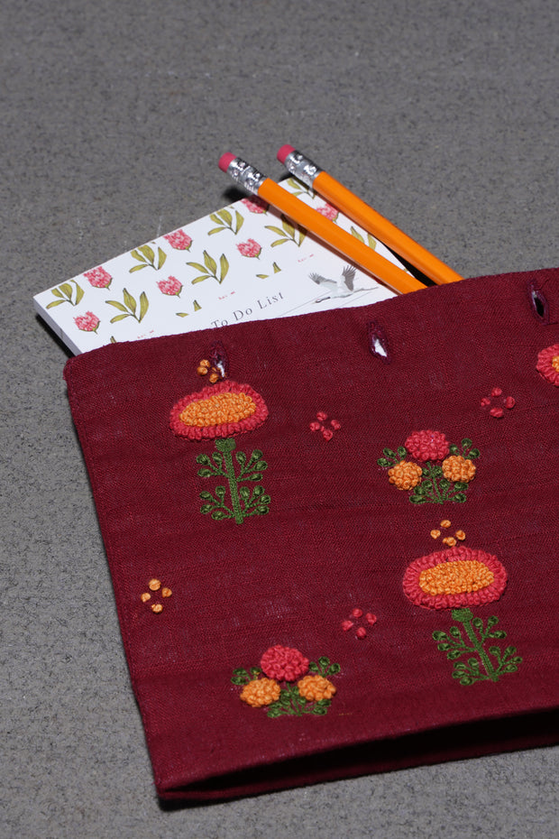 Embroidered Pouch Maroon