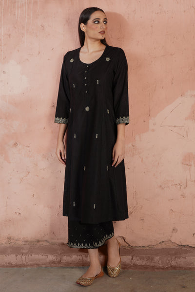 Tropical Kurta Black Plain