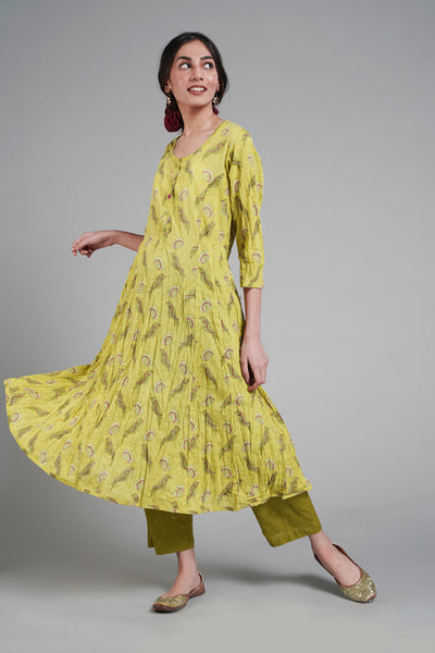 Tropical Kurta - Lime