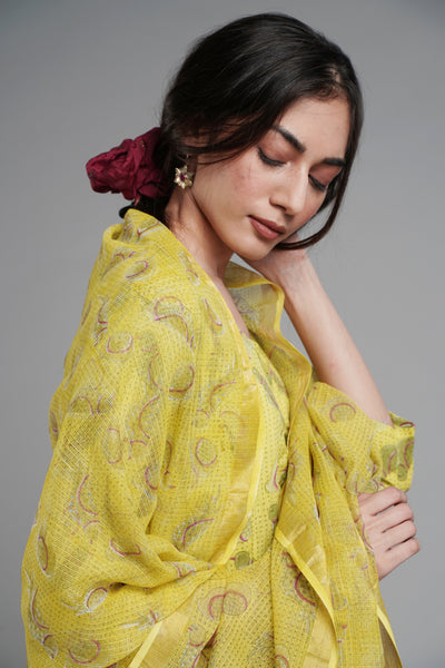 Tropical Dupatta - Lime