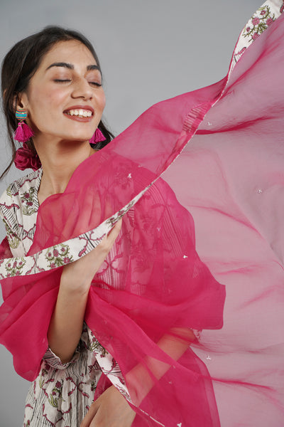 Tropical Aloha Dupatta - Hot Pink