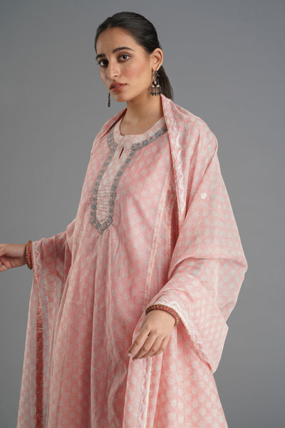 Tulsi Dupatta - Light Pink Daisy