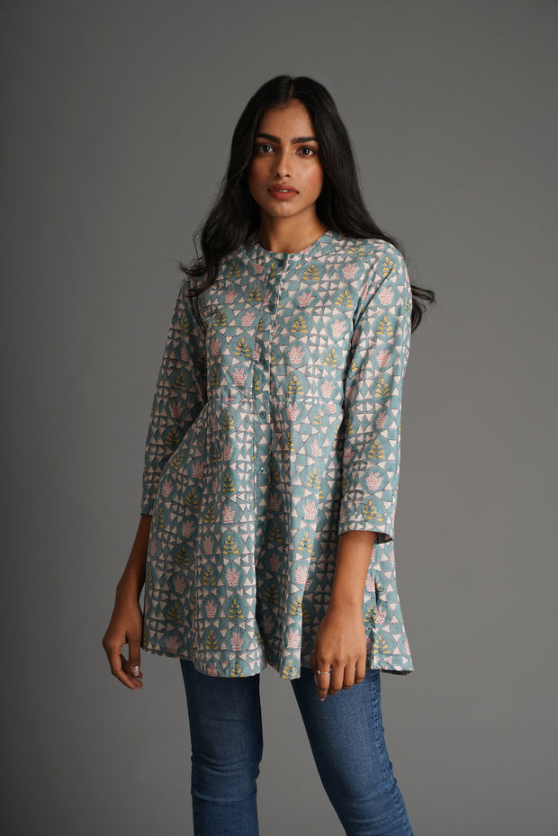 Beachy Tunic Top- Aqua