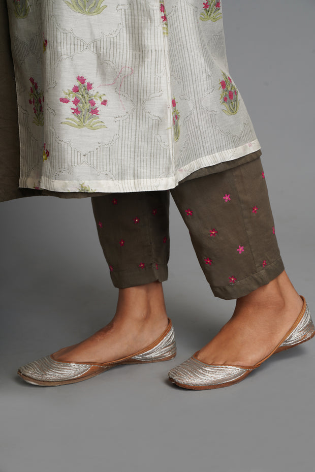 Grey Embroidered Pants