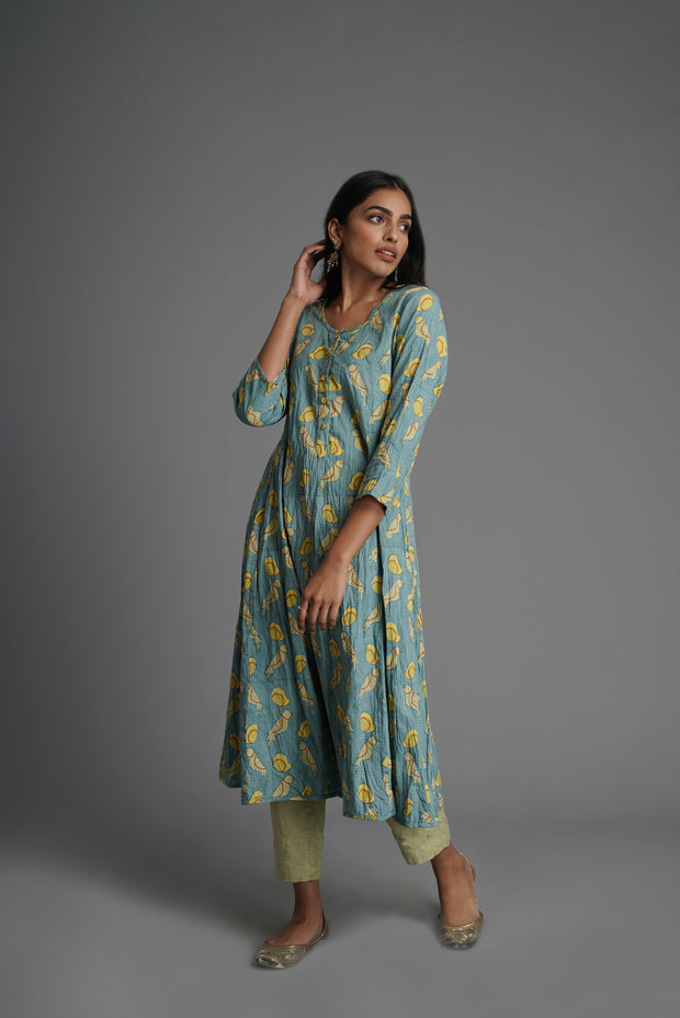 Tropical Kurta-Aqua
